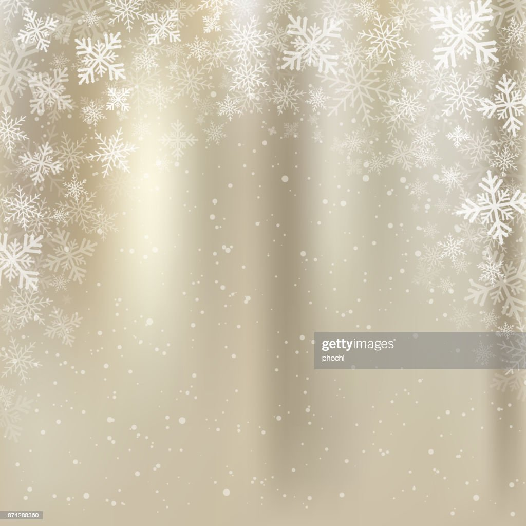 winter golden background christmas made of snowflakes and snow with