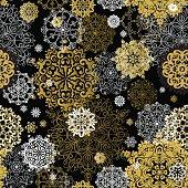 Winter golden black seamless pattern