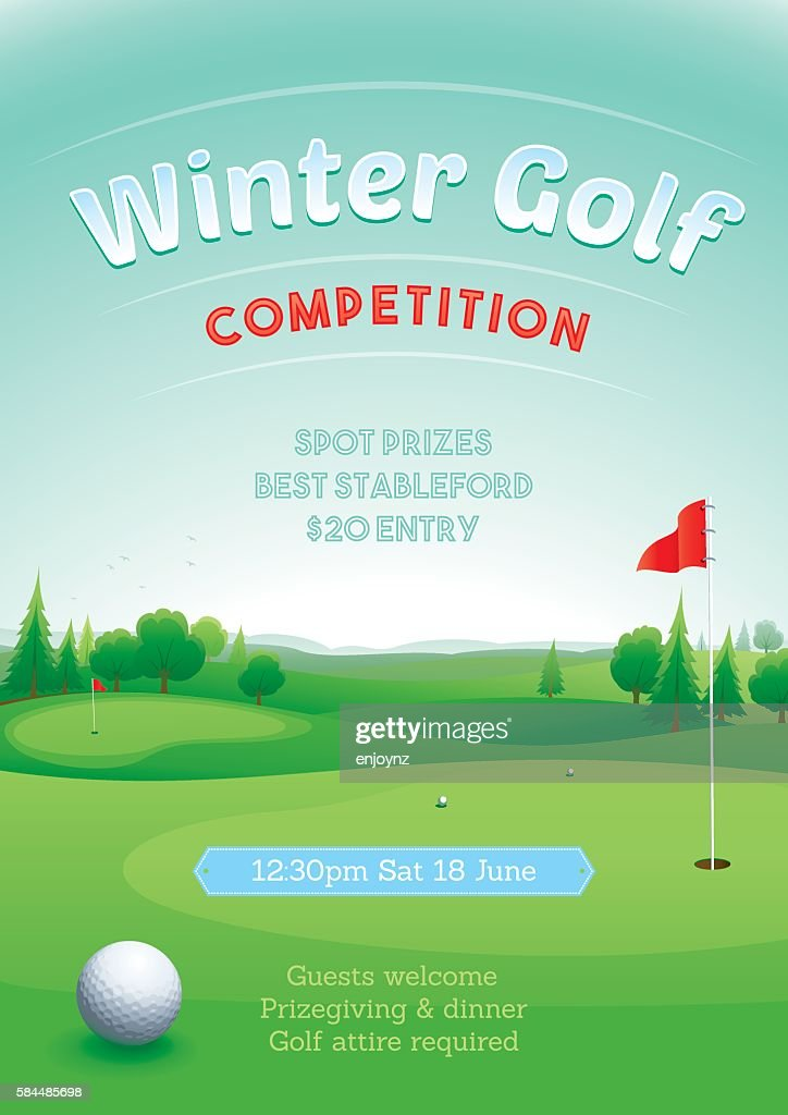 Winter golf competition : stock illustration