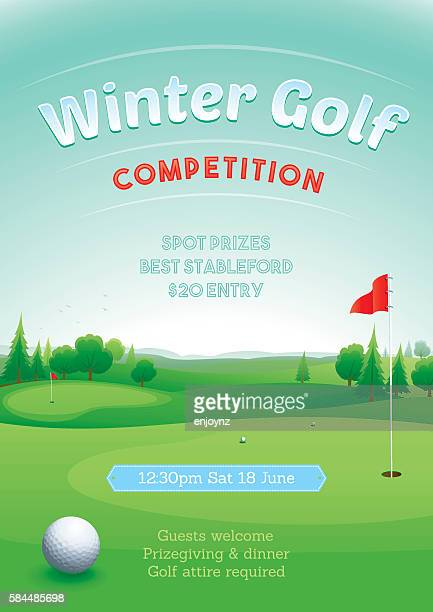 winter golf competition - green golf course stock illustrations, clip art, cartoons, & icons