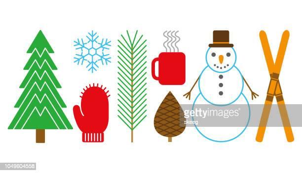 winter-grafik - tannenzweig stock-grafiken, -clipart, -cartoons und -symbole