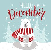 "Winter greeting card with cute hand drawn polar bear. Hand drawn lettering phrase ""Hello, December""."