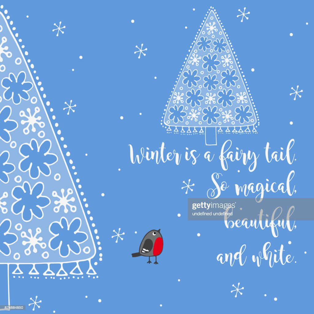 Winter Greeting Card With Frozen Fir Vector Art Getty Images