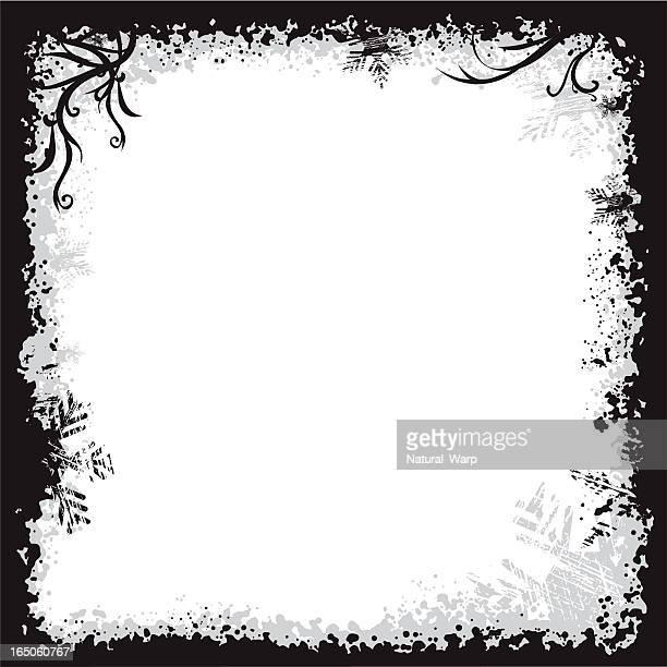冬のグランジフレーム - 黒枠点のイラスト素材/クリップアート素材/マンガ素材/アイコン素材
