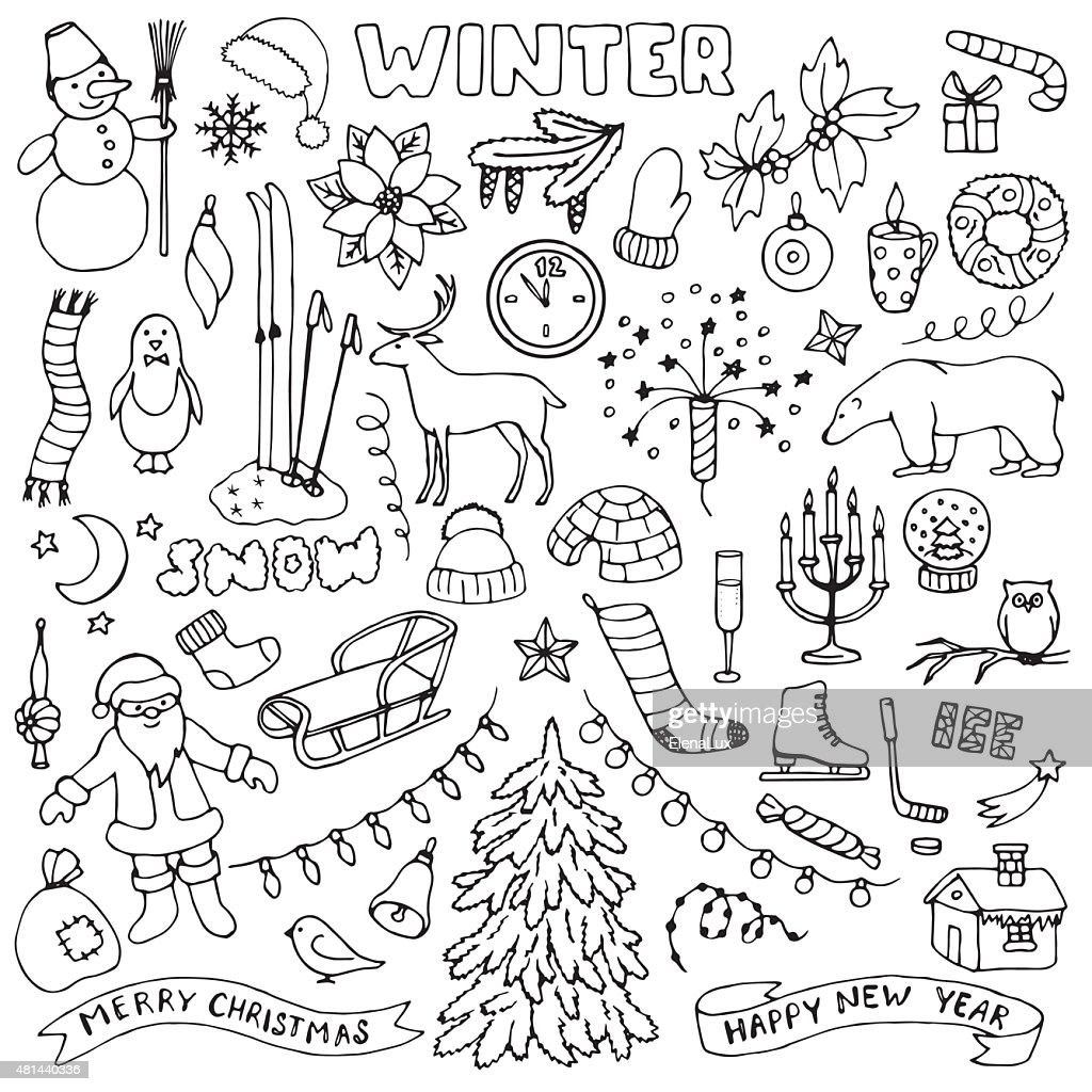 Winter hand drawn doodle set