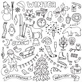 Winter hand drawn doodle set