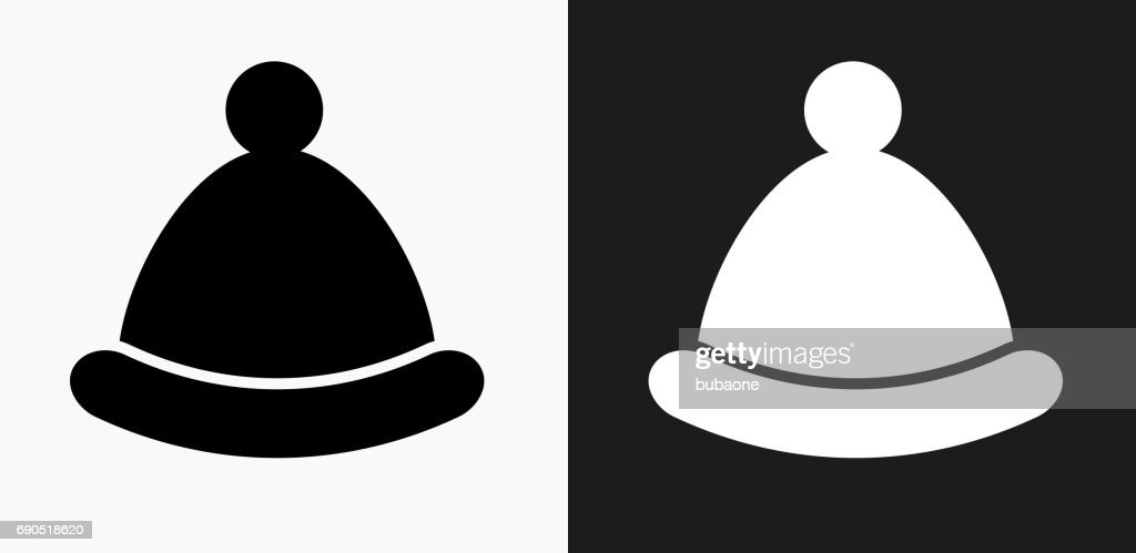 96ef362ba42 Winter Hat Icon On Black And White Vector Backgrounds stock vector ...