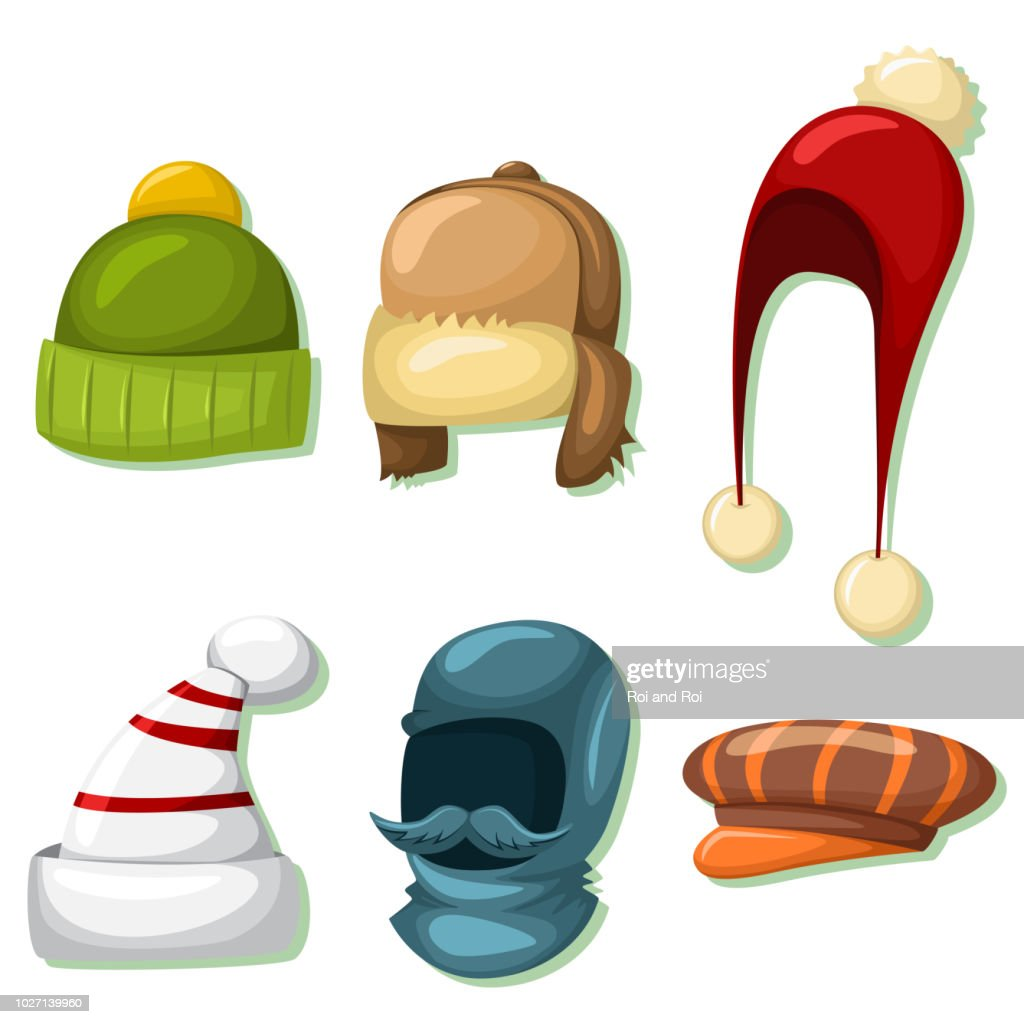Winter hats and caps set for men and women. Vector cartoon icons isolated on white background. Clothes for cold weather.
