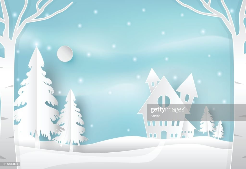 Winter holiday and snow in countryside with blue sky nature background. Christmas season paper art style