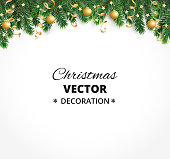 Winter holiday background. Border with Christmas tree branches. Garland, frame with hanging baubles, streamers