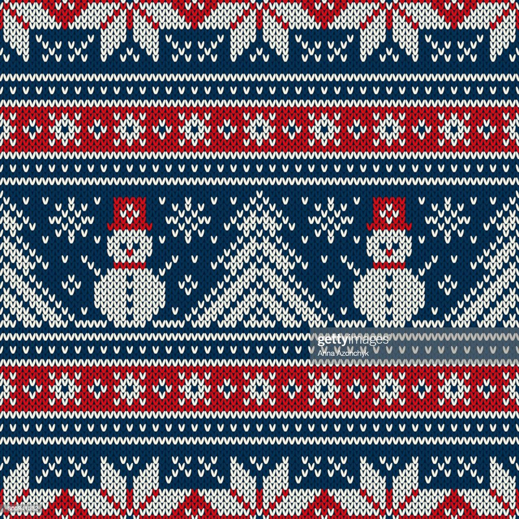 Winter Holiday Knitting Pattern with Snowman and Christmas Tree. Christmas and New Year Seamless Knitted Sweater Design