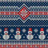 Winter Holiday Knitting Pattern with Snowman. Christmas and New Year Seamless Knitted Sweater Design