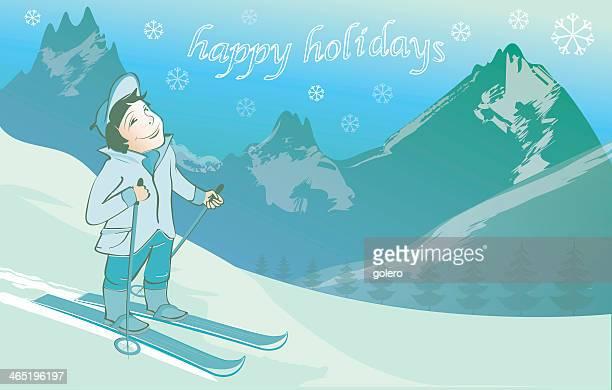 illustrations, cliparts, dessins animés et icônes de carte postale de vacances d'hiver avec souriant enfant - ski humour