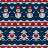 Winter Holiday Seamless Knitted Pattern with a Christmas Symbols: Snowman, Snowflake and Christmas Tree. Wool Knitting Sweater Design