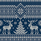 Winter Holiday Seamless Knitted Pattern with a Christmas Trees and Elks. Knitting Sweater Design