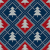 Winter Holiday Seamless Knitted Pattern with a Christmas Trees. Knitting Sweater Design. Wool Knitted Texture Imitation