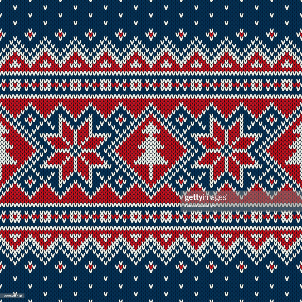 Winter Holiday Seamless Knitted Pattern with a Christmas Trees. Traditional Knitting Sweater Design