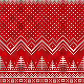 Winter Holiday Seamless Knitted Pattern with a Christmas Trees. Knitting Wool Sweater Design. Wool Knit Texture Imitation