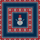 Winter Holiday Seamless Knitted Pattern with a Snowman. Knitting Sweater Design. Wool Knitted Texture