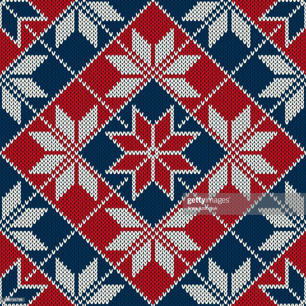 Winter Holiday Seamless Knitted Pattern With Snowflakes Fair Isle