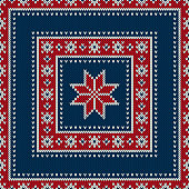 Winter Holiday Seamless Knitted Wool Texture Pattern with a Snowflake. Knitting Sweater Design