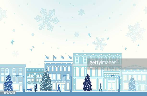 winter holiday shopping - small business stock illustrations