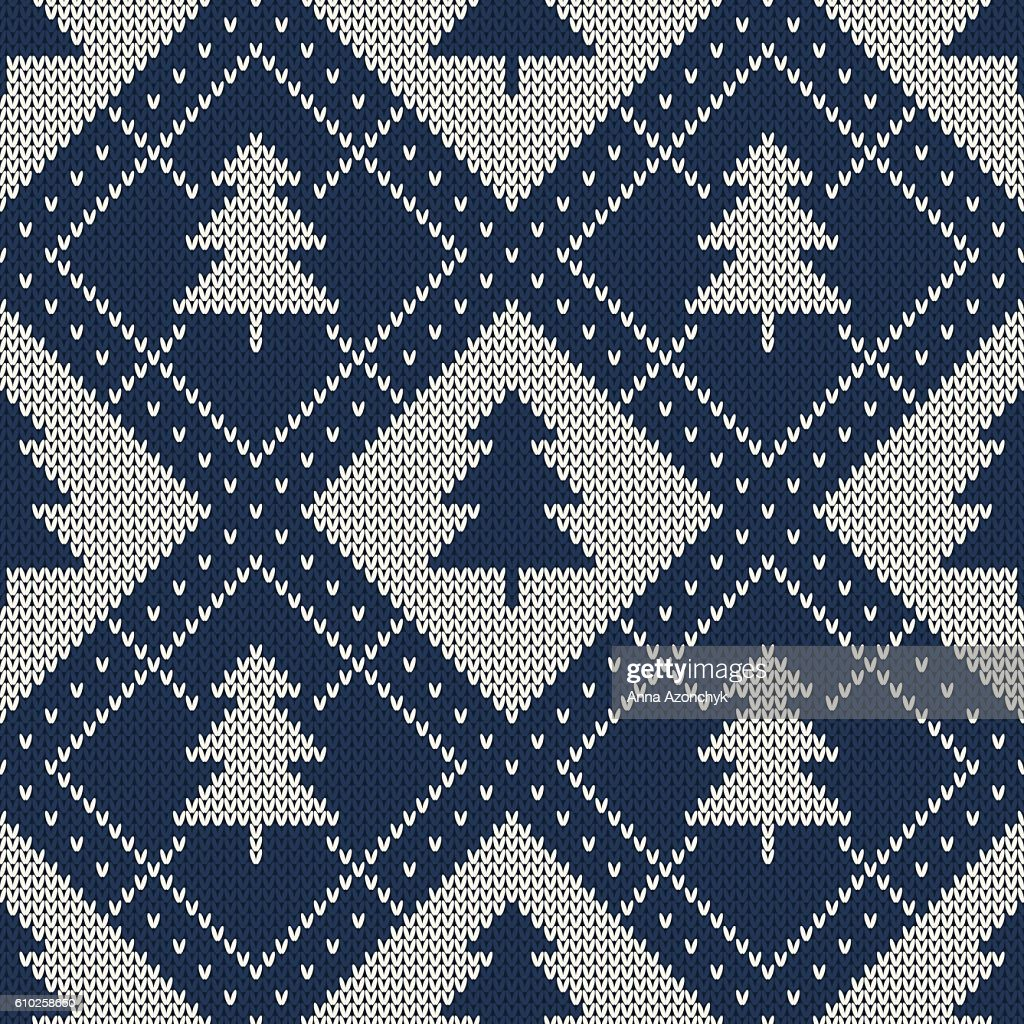 Winter Holiday Sweater Design. Seamless Knitting Pattern with Christmas Tree