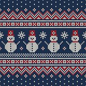 Winter Holiday Sweater Design with Snowmans. Seamless Knitted Pattern