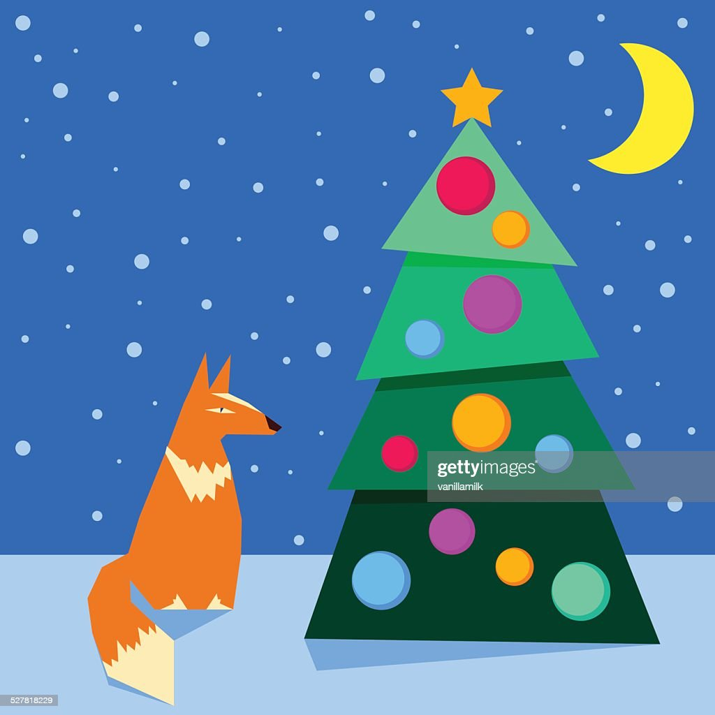 winter holidays card background with funny cartoon fox and spruce