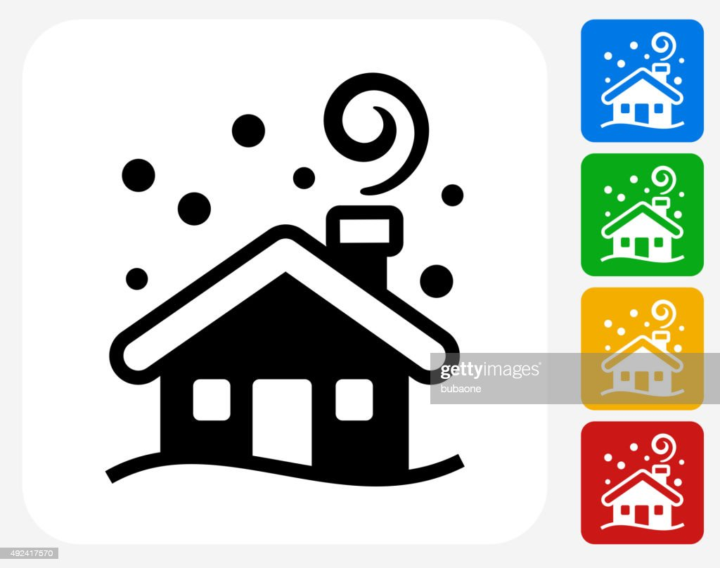 Winter House Icon Flat Graphic Design Vector Art   Getty Images