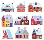 Winter Houses and Cottages Set
