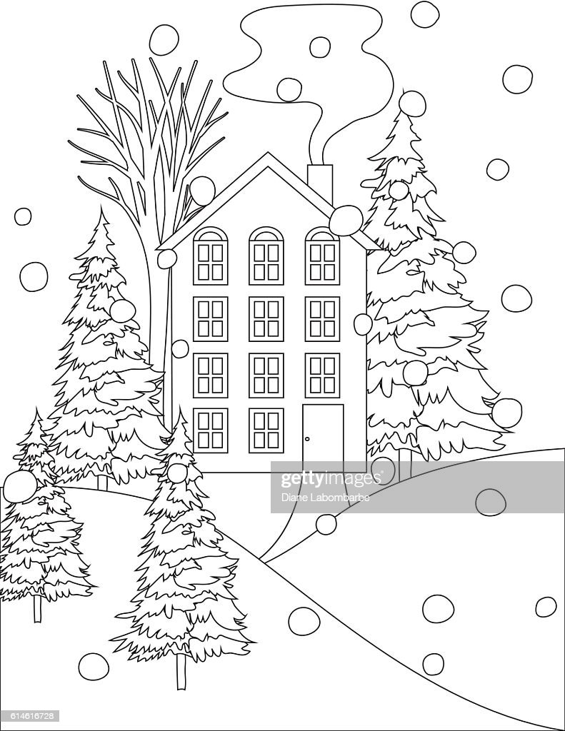 Winter Houses In The Snow Coloring Book Page Stock ...