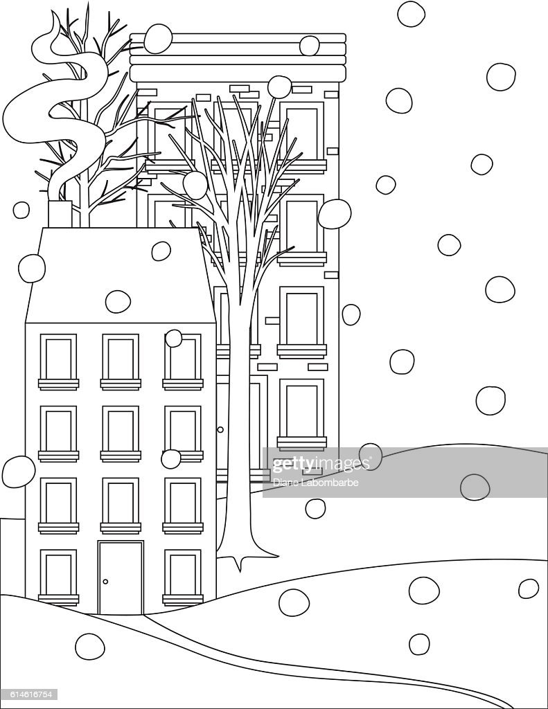 Winter Houses In The Snow Coloring Book Page High-Res Vector ...