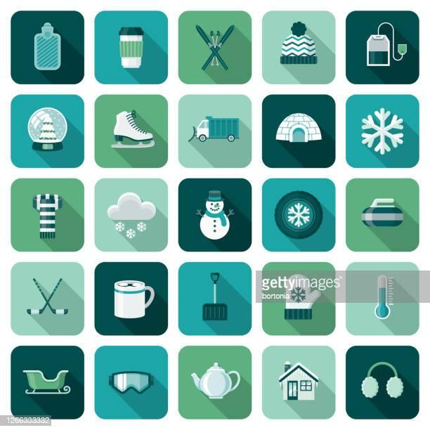 winter icon set - snow shovel stock illustrations