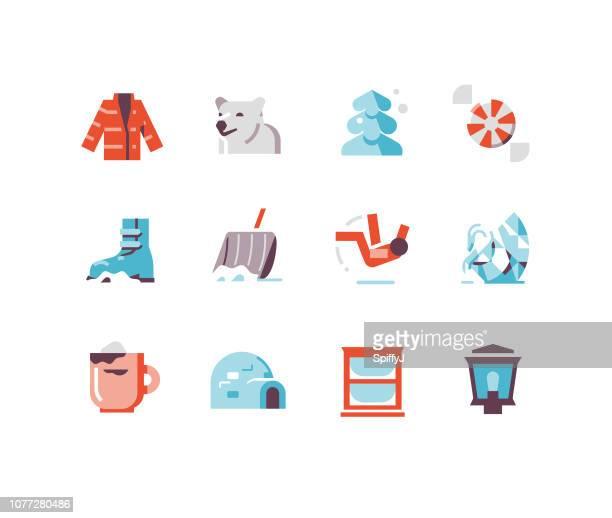winter icons 2 - snow shovel stock illustrations