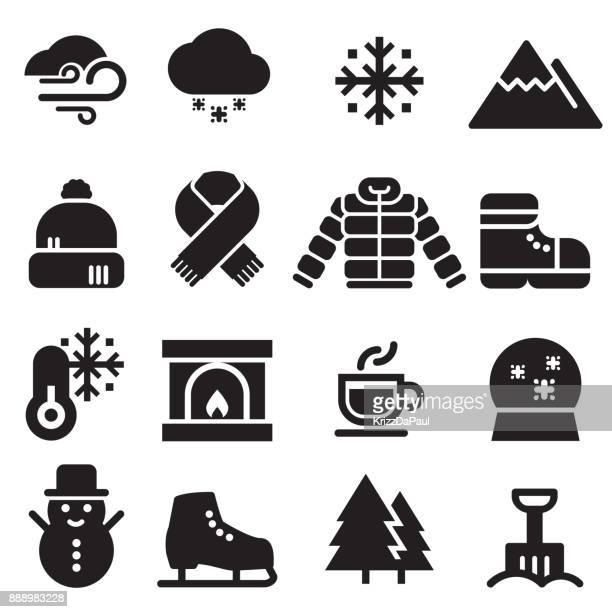 winter icons [black edition] - winterdienst stock illustrations