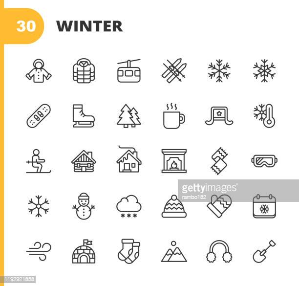 winter icons. editable stroke. pixel perfect. for mobile and web. contains such icons as winter, season, snow, skiing, christmas, christmas tree, snowman, hot drink, skates, jacket, glove, skiing, fireplace, igloo. - coat stock illustrations