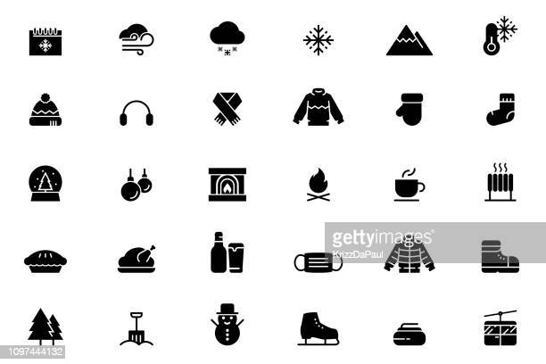 winter icons - warm clothing stock illustrations