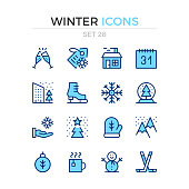 Winter icons. Vector line icons set. Premium quality. Simple thin line design. Blue linear stroke style. Modern outline symbols, pictograms