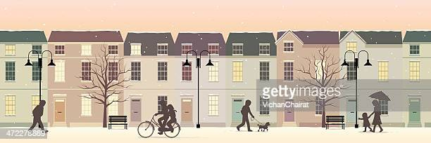 winter in lovely twilight town - panoramic stock illustrations, clip art, cartoons, & icons