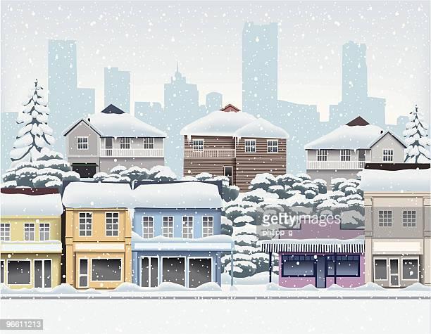 WInter in der Stadt und der Vororte der Stadt
