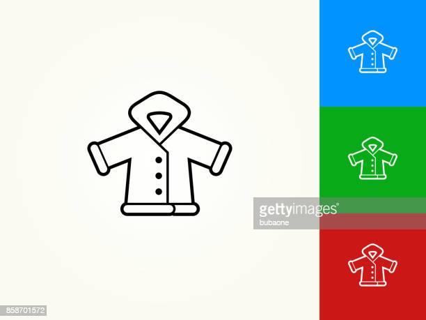 winter jacket black stroke linear icon - winter coat stock illustrations