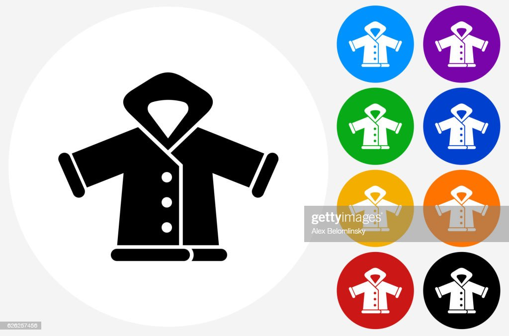 Winter Jacket Icon on Flat Color Circle Buttons