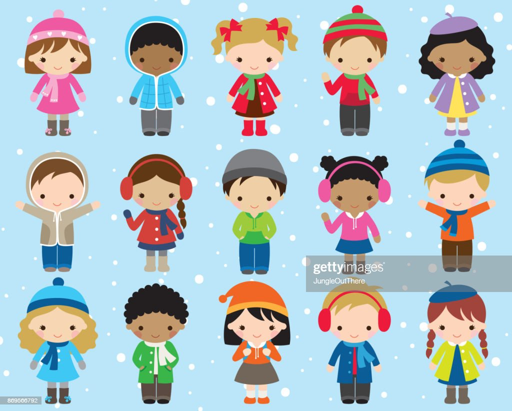 Winter Kids Children Vector