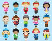 Winter Kids Children Vector