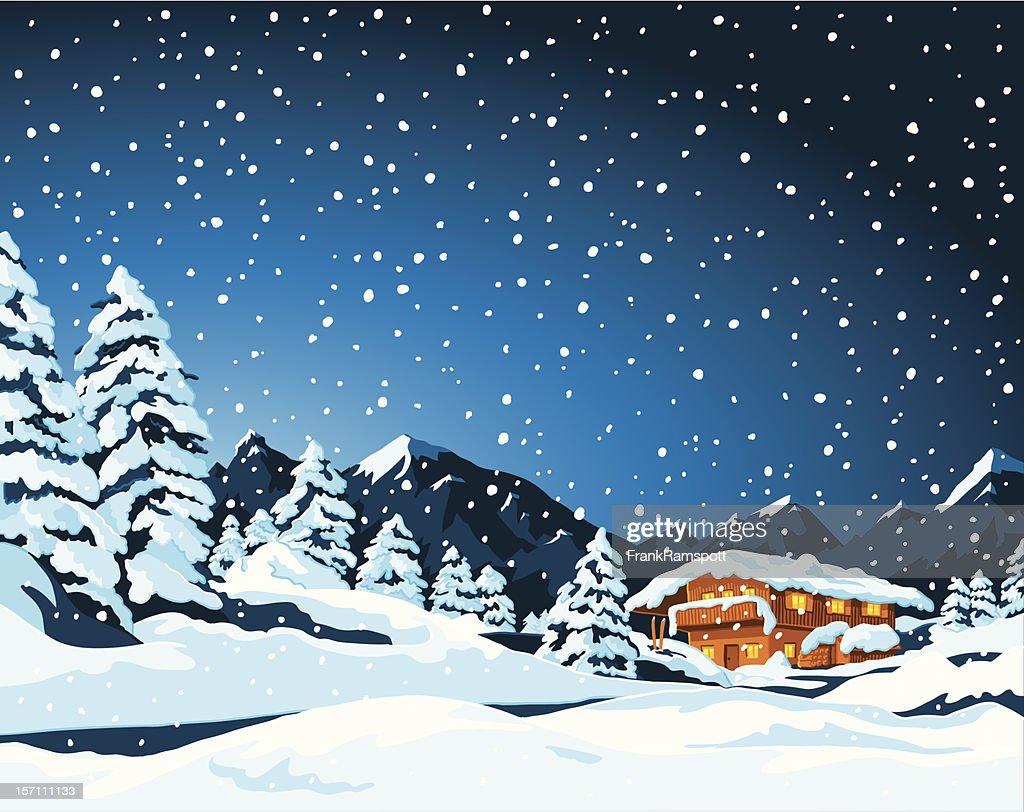 Winter-Landschaft und Kabine : Stock-Illustration