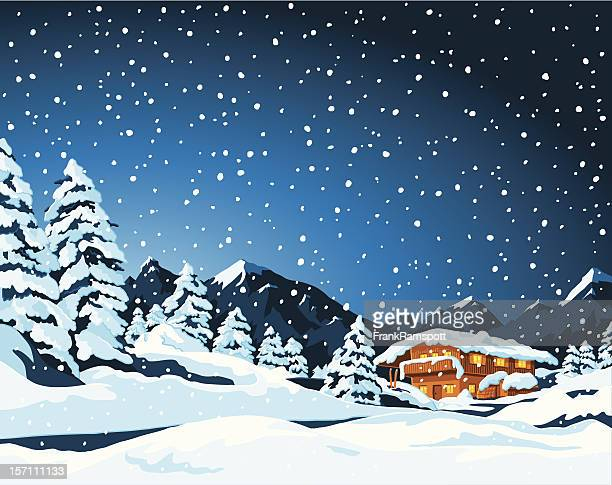 winter landscape and cabin - images stock illustrations