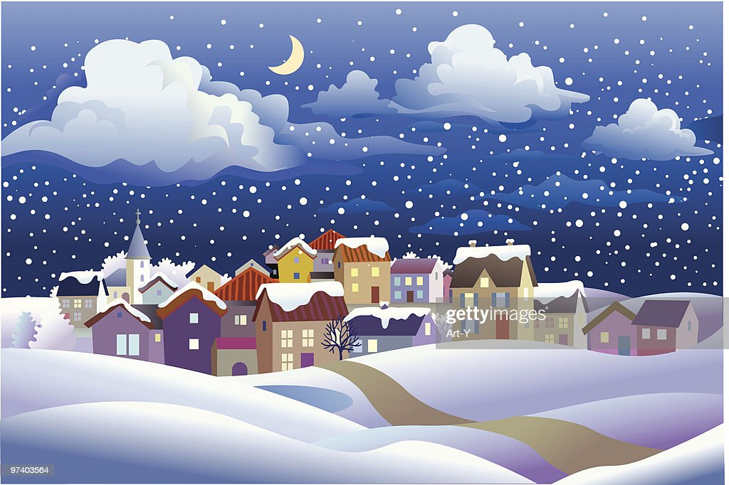 Winter Landscape at Night in Small Town : Vector Art