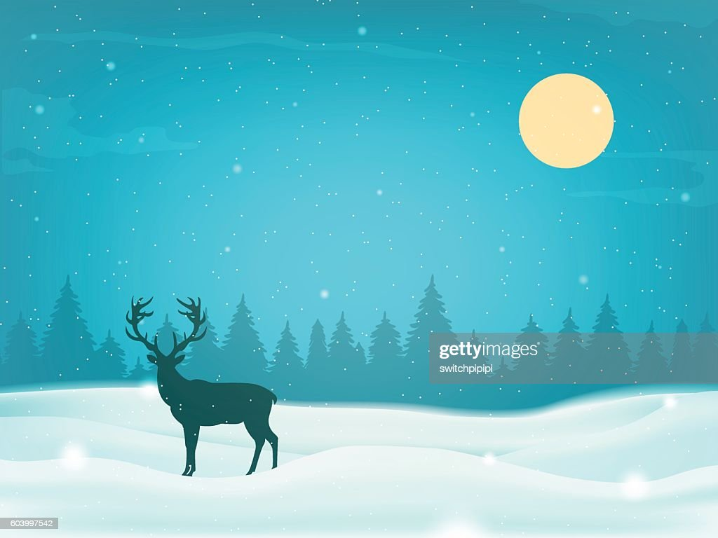 Winter landscape background with winter tree and reindeer silhouette. Vector