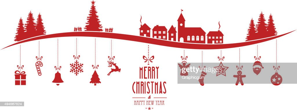 winter landscape christmas ornament hanging red isolated background